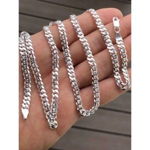 Solid 925 Sterling Silver Men 5mm Tight Link Chain